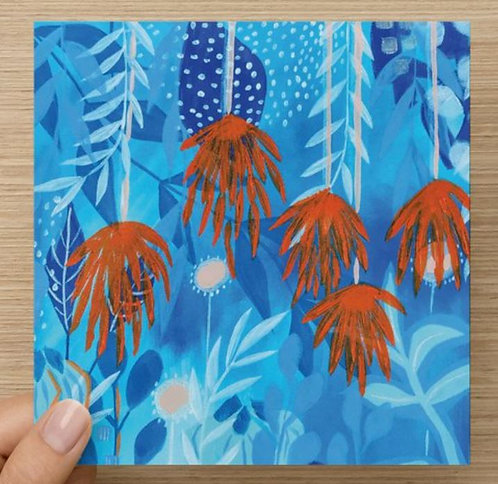 Orange and Blue Tropical Flower Blank Greeting Card and Eenvlope
