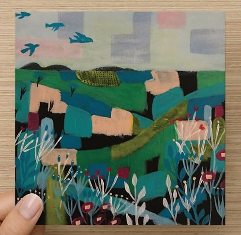 A Patchwork Landscape Bland Greeting Card and Envelope