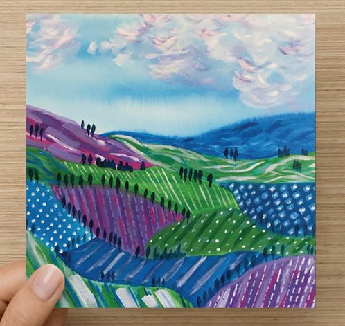 Rolling Hills Blank Greeting Card and Envelope