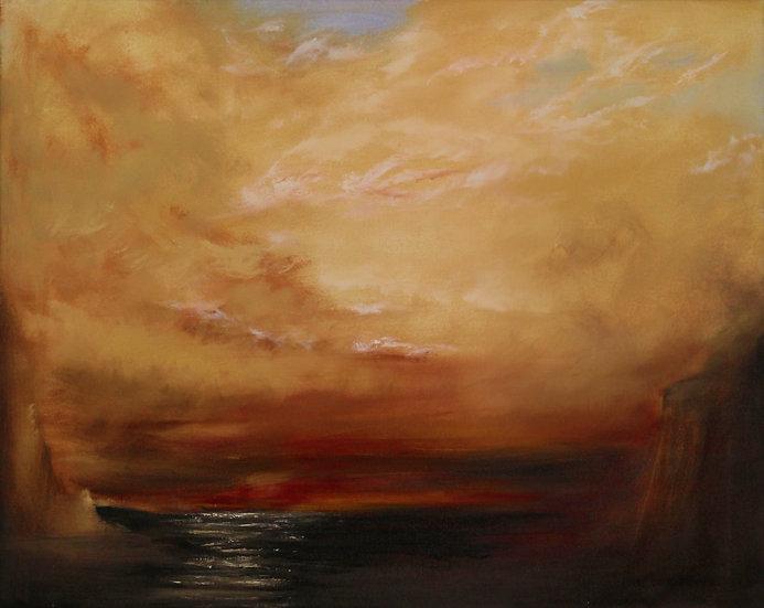 "Water Sunset - 30""x28"""