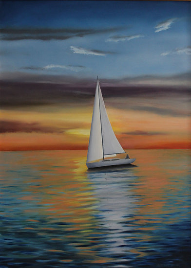 "Sailing at Sunset - 36"" x 22"""