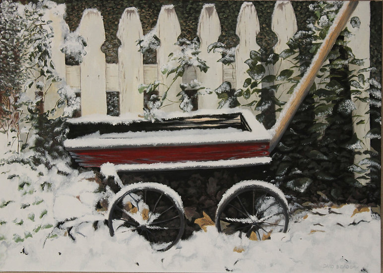 """The Old Red Wagon - 20 x 28"""""""