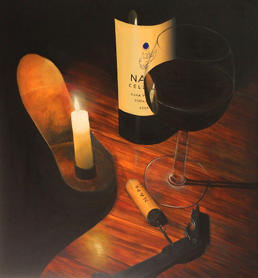 "Wine Bottle With Candle - 30""x30"""