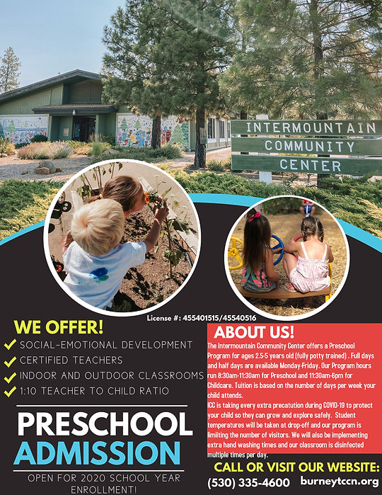 Poster announcing that Preschool Admissing 2020 is now open!