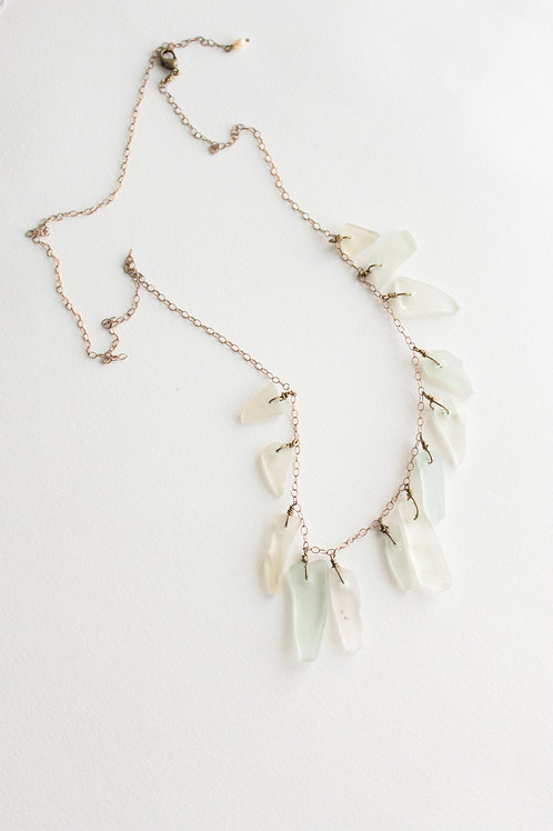New Zealand Clear Sea Glass Spike Necklace