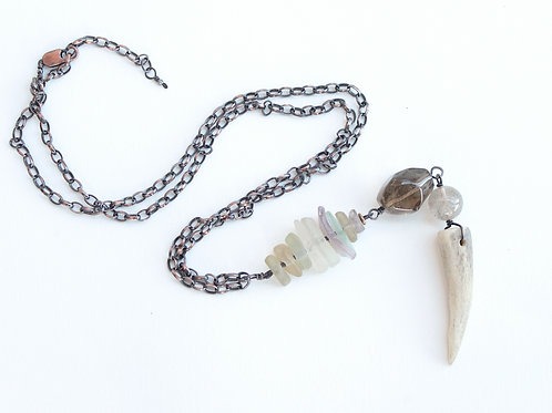 Large Antler Point & Stacked Sea Glass Talisman Necklace