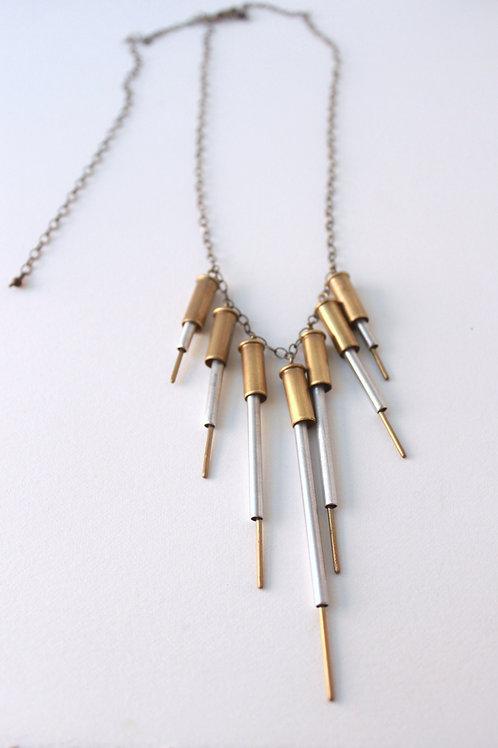 Aluminum Quilled Fringe Statment Necklace