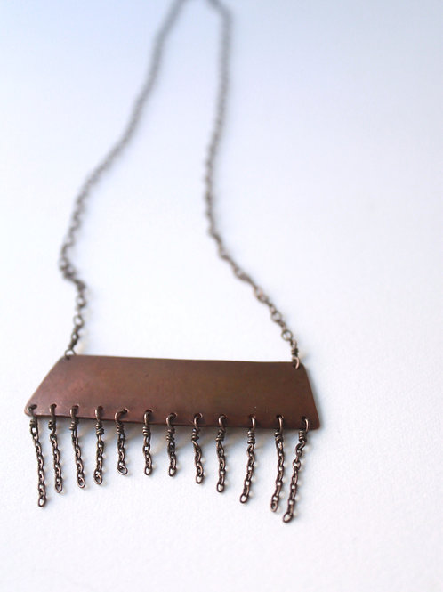 Fringed Copper Trapezoid Pendent