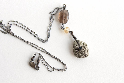 Pyrite & Smoky Quartz Y Necklace