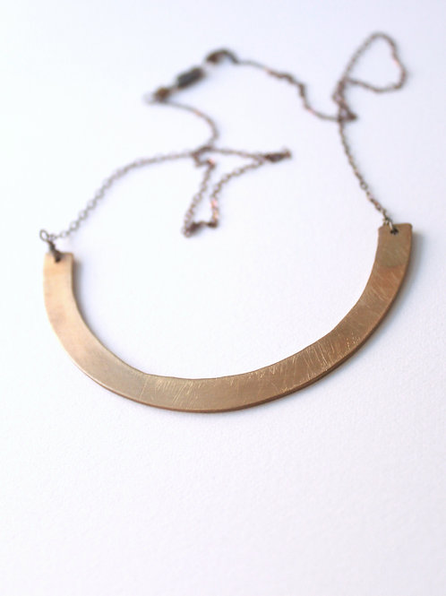 Brass Half Circle on Sterling Necklace