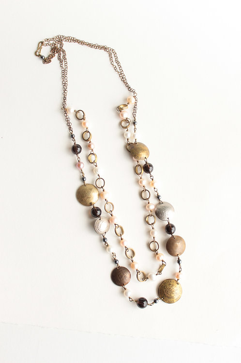 A Pink Travelers Double Stranded Coin Necklace