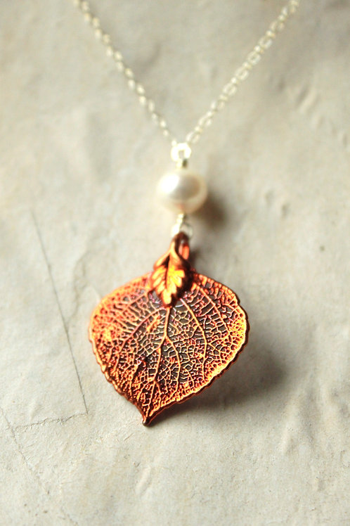Aspen Leaf & A Pearl Necklace