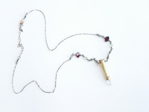 Casing Impacted Crystal & Garnet Necklace