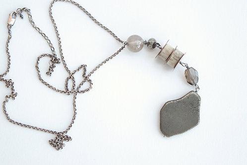 Pyrite Slab & Tiered Antler Talisman Necklace