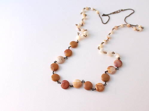 Mother of Pearl & Yellow Jasper Necklace
