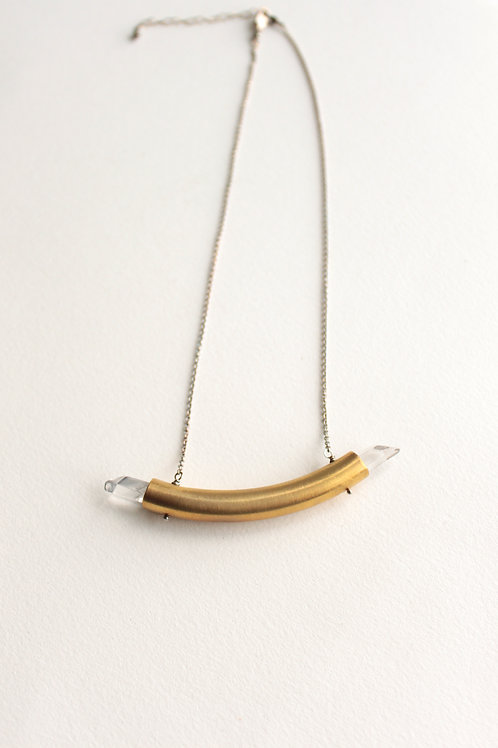 Crystal Pipeline Necklace in Brass