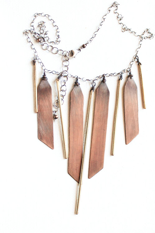 Angled Brass Rod & Copper Breast Plate Fringe Necklace