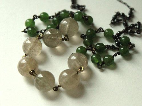 Rutilated Quartz, Jade & Hematite Necklace