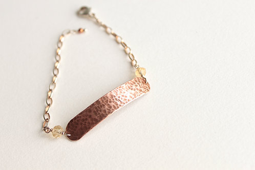 Hammered Copper Long Tab Bracelet