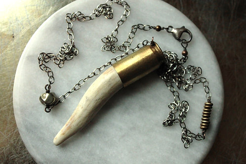 Impacted Turned Antler Bullet Necklace