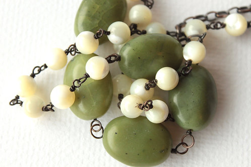 The Twenty Mother of Pearl & Jade Necklace