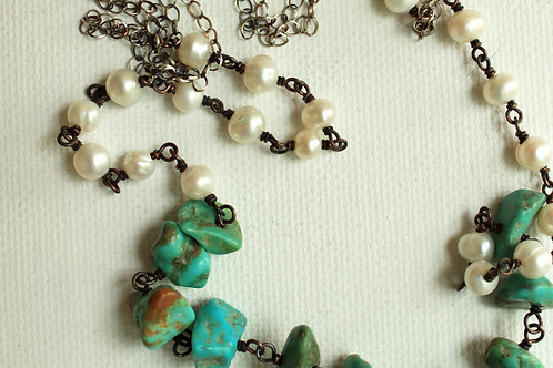 Chunky Turquoise & White Pearls Layering Necklace