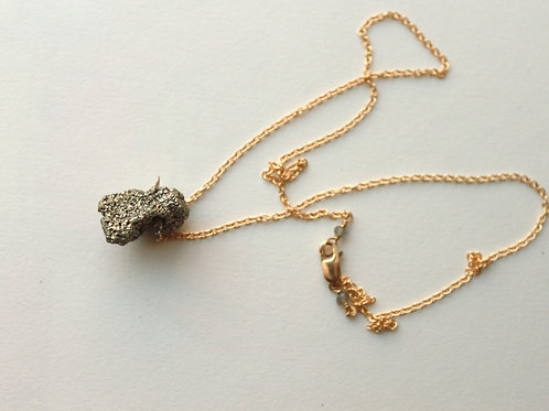 Sweet Pyrite Pendant on Gold Necklace