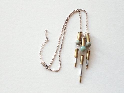 African Opal Bottomed Casing Fringe Necklace