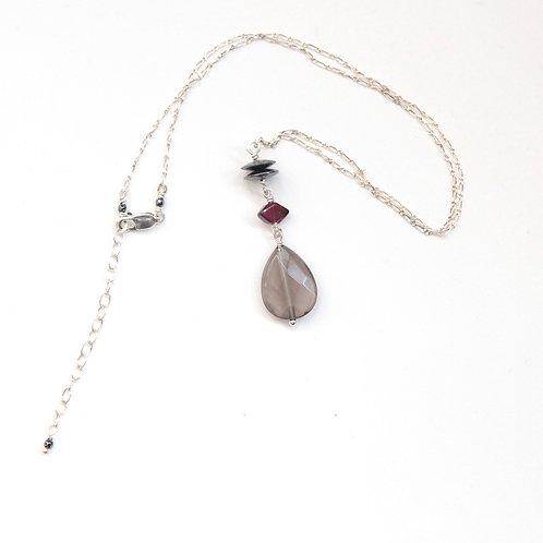 Smoky Quartz & Hematite Y Necklace