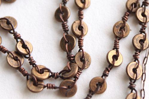 Bronze Beaded Token Necklace