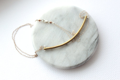Clock Bar on Silver Necklace