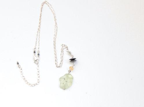 Prehnite Slab & Hematite Y Necklace