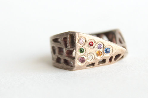 Geometric Multi Stone Silver Ring