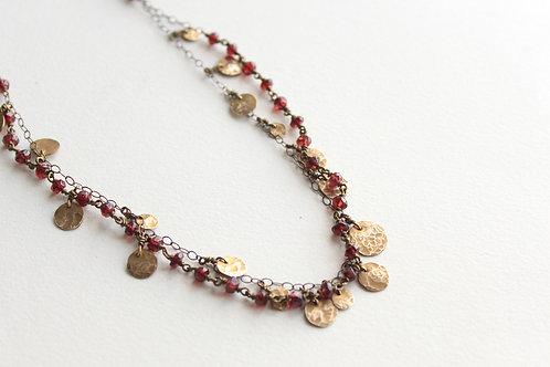 Garnet & Brass Enchantment Necklace