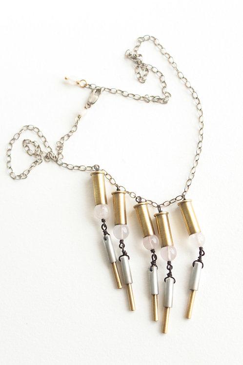 Rose Quartz Bottomed Casing Fringe Necklace