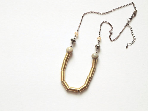 African Opal & Lined Casings Necklace
