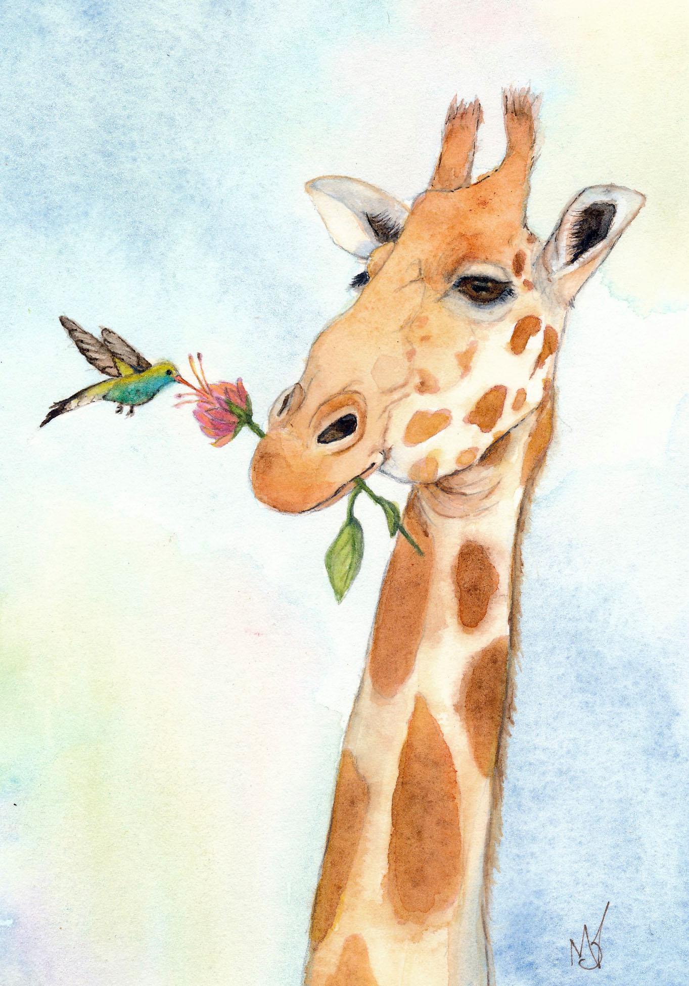 Giraffe and Hummingbird