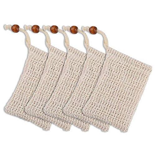 5 Pack Exfoliating Soap Bag Natural Soap Saver