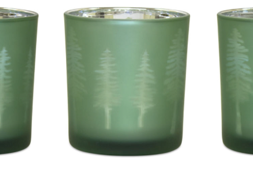 Green and Silver Tree Tea Light Holder, Set of 3