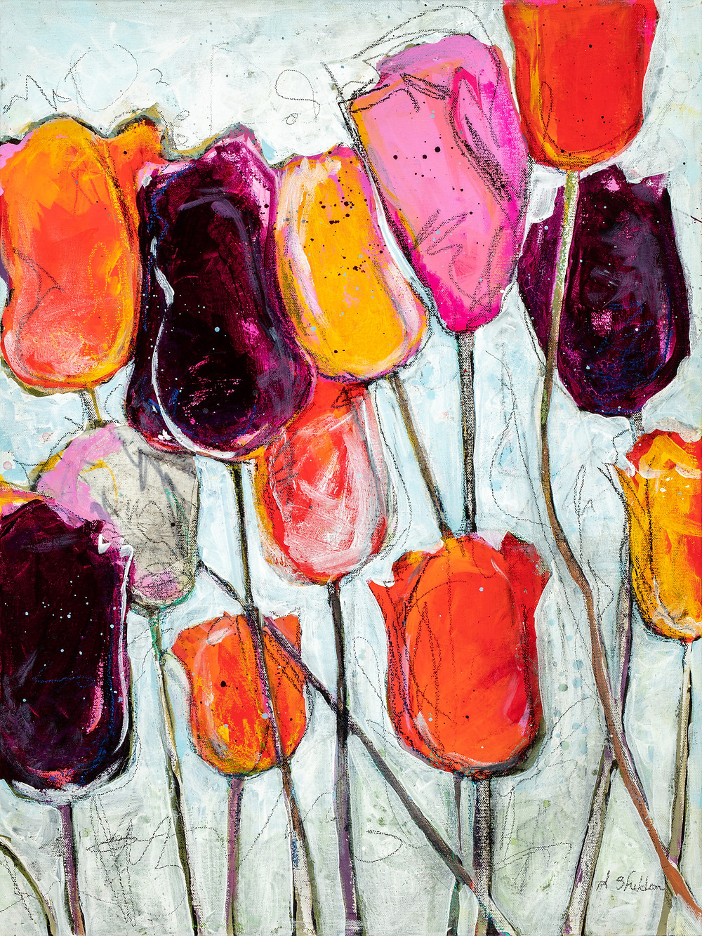 Tulips - Vertical canvas artwork by Deb Sheldon