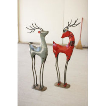 Recycled Iron Deer Porch Statues