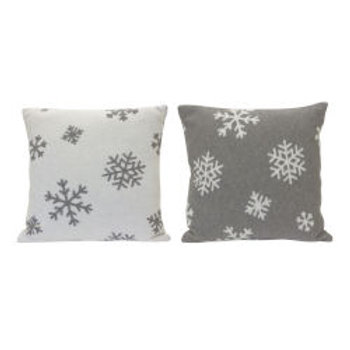 Gray and White Snowflake Pillow, Set of 2