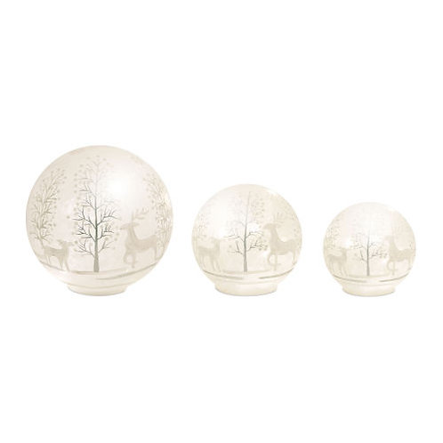 LED Lighted Deer with Tree Globe, Set of 3