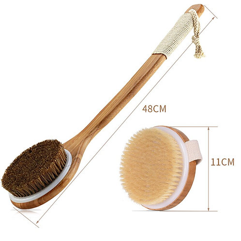 Exfoliating Natural Bristle Bath Brushes, Bamboo Handles