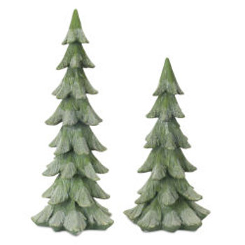 Green and White Christmas Tree, Set of 2