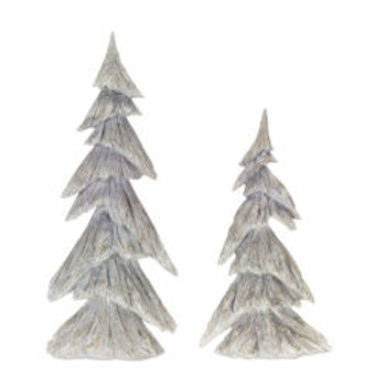 Gray and White Winter Holiday Tree, Set of 2