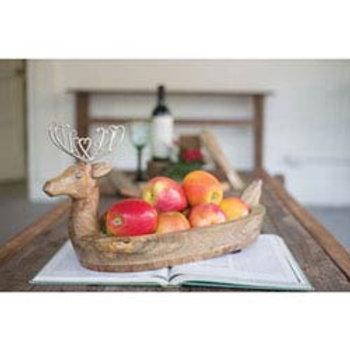 Hand Carved Mango Wood Reindeer Bowl with Metal Antlers