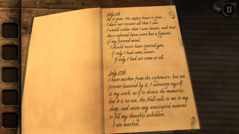 In-game journal entry