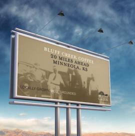 Bluff Creek Coffee billboard mockup.