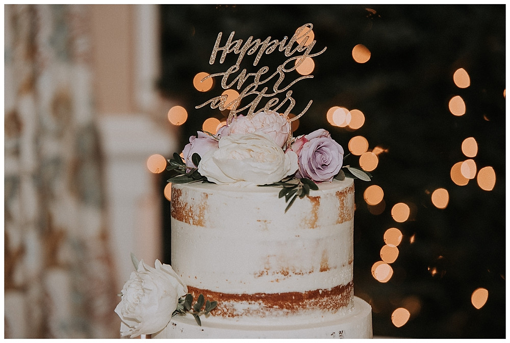 Naked White Wedding Cake with Roses